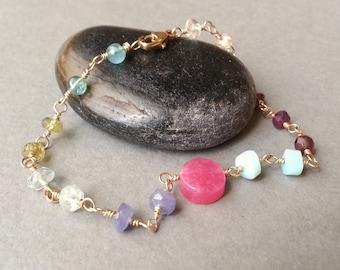 Pink Lilac Aqua Pastel Gemstone And Gold Bracelet Gold Filled Semiprecious Gemstone Rosary Chain Modern Minimalist Bracelet Feminine Dainty