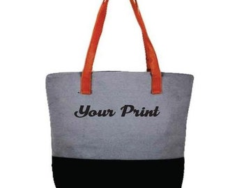 Custom Embroidery Color Block Tote Cotton Canvas Grey and Black