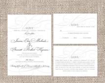 Calligraphy Christian Wedding Invitation   Custom Colors