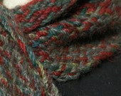 Scarf Handwoven Pure Alpaca Rustic Fall Winter Fashion Scarf Women Men Woodland Burgundy Green Blue Blend - Shawltique