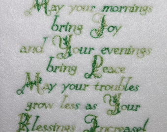 Machine Embroidery File ONLY  Irish Blessings Saying St Patrick's Day Pot of Gold Rainbow