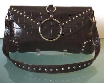 Made in Italy Michael Rome Alligator Embossed Shoulder Bag