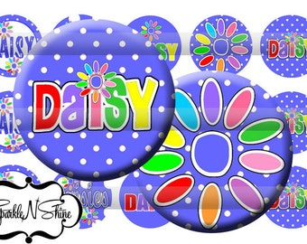 Instant Download Bottle Cap Image Sheet - Daisy Girl Scout - 1 inch Circles