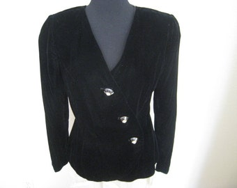 Vintage Albert Nipon  Black Velvet 1980's Jacket