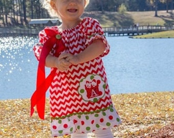 Chevron Christmas dress - fully lined with matching hairbow included.