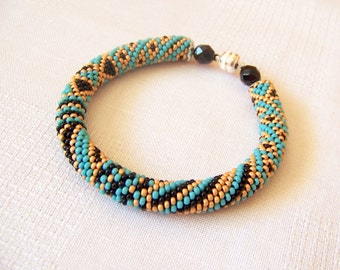 Beaded Crochet Bracelet - Abstract Bangle - Round Chunky Bangle - Geometric Patchwork Design Bracelet - turquoise ethnic bracelet