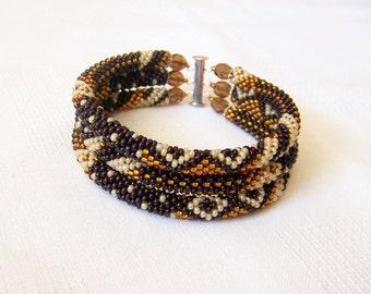 Beadwork - 3 Strand Bead Crochet Rope Bracelet in dark brown, brown and creamy ivory - beaded jewelry - seed beads bracelet