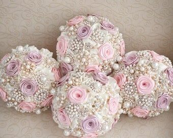 Brooch bouquet, Ivory and Blush Pink Bridesmaids brooch bouquets. Made to order