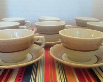 Syracuse China - Restaurant Sandalwood Pattern - Cups and Saucers - Set of 4 - 1960s (3 sets available)