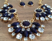 Navy and Diamond Statement Necklace