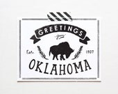 Screenprinted State of Oklahoma Postcard