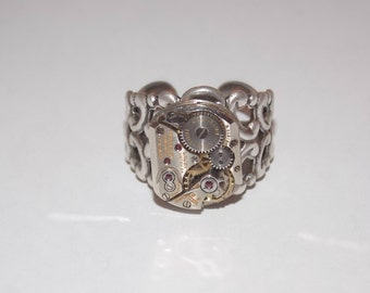 Steampunk Adjustable Fancy Filigree Ring
