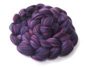 Roving - blended Merino - Tussah silk - fiber blends - purple - 100g - 3.5oz - NIGHTSHADE