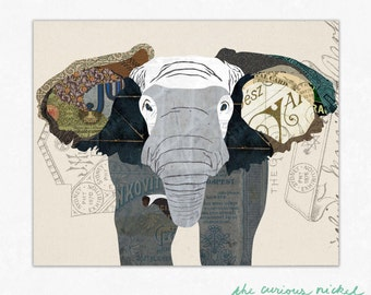 Elephant Art Print - Elephant Collage Poster Print - Fine Art Collage Illustration Print