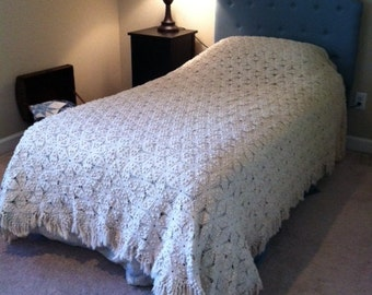 Ivory Colored Crochet Afghan