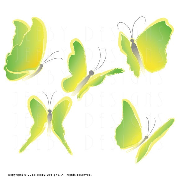 Lime Green Butterfly Clip Art Digital Clip Art Set of Five