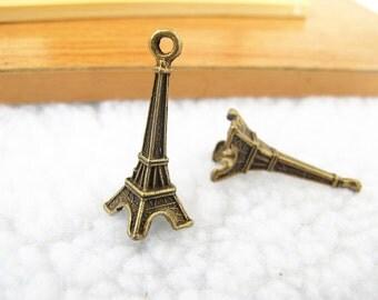 10pcs 11x30mm Antique Bronze Lovely 3D Eiffel Tower Charm Pendant Jewelry Supplies A1242-1B