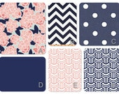 """Bumperless Coral and Navy Crib Set in designer fabric-choose from many style options. Pricing under """"style"""" dropdown box"""