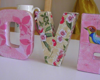 Decoupaged Letter signs