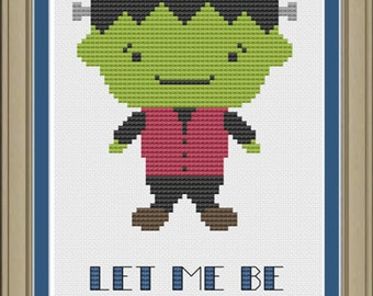Let me be frank with you: cute Frankenstein Halloween cross-stitch pattern