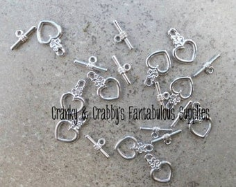 20mm X 13mm Silver Heart Toggle Clasps set of 10