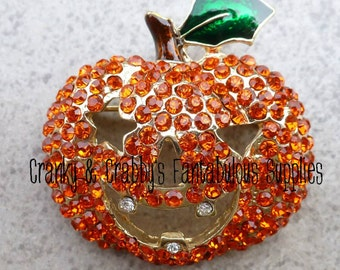 Orange Rhinstone Jack O' Lantern Pumpkin Pendant -  40mm x 40mm - Gold  - Halloween, Fall, Chunky Necklace