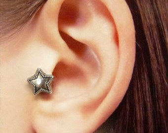Wish Star Ear Cuff, Nose cuff, Tragus cuff, star ear cuff, Silver ear cuff,  Non Pierced Nose Ring, Cartilage, Fake piercing