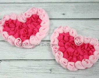 "Hot Pink and Light Pink Chiffon Rosette Hearts - 3.5"" Valentines Heart (2)"