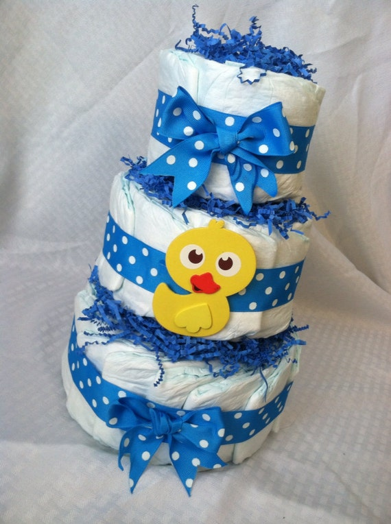 ADORABLE DIAPER CAKE - Baby Boy - 3 tier handmade diaper cake blue with ducky