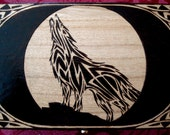 Celtic Wolf Knotwork Wood Burned Stash/Jewelry box - Black Stague Original Design