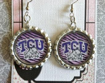 TCU Horned Frogs Inspired Glitter Bottlecap Earrings