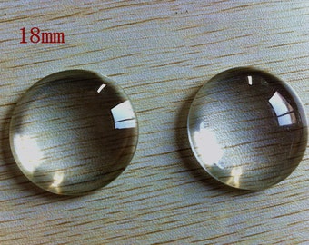15pcs 18mm Clear Glass Cabochons for jewelry making