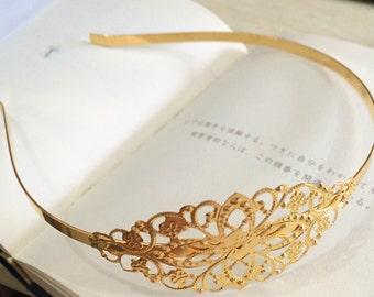2pcs 35x80mm Floral headband   Filigree metal Headband