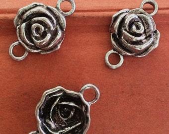 15pieces 25 x 16mm  Flower connector charm  - antique silver Charm Pendant