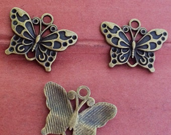 25pcs 25 x 19mm  Butterfly  Charm--antique bronze charm pendant Jewelry Findings