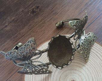 2pcs 18mmx25mm  Brass Brass Bracelet Blank Cameo Base