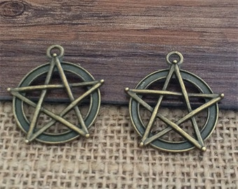 10pieces  28×31mm Star Charm --Antique bronze pendant  Jewelry Findings