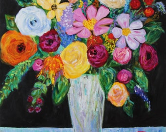 """CLEARANCE! Large Bold Floral Still LIfe Flowers in Vase, GICLEE PRINT """"Georgia"""""""