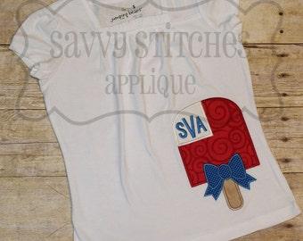 Patriotic Popsicle Machine Embroidery Applique Design