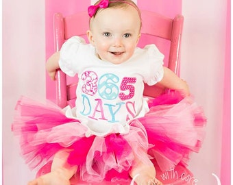 Personalized Pink and Aqua First Birthday Tutu Outfit - 365 Days