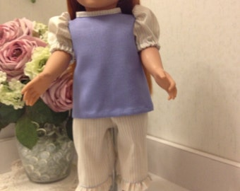 Cute two piece play outfit in periwinkle blue and tiny pin stripes