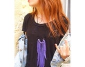 purple  leather fringes necklace