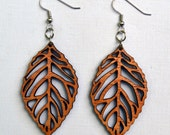 Wood Leaf Earrings Boho Chic from Solid Mahogany