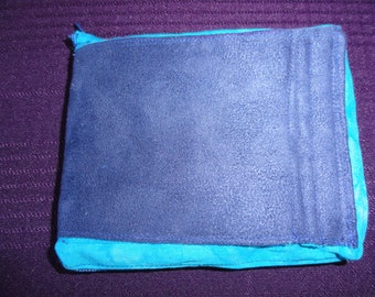 "PRICE DROP!!!! Free Shipping!  Lg Blue Suede/Blue Batik Wallet w 3 card holders, bill fold, change pkt  approx size 5""x5 1/2"""