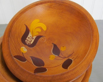 Four  Woodcroftery Salad Bowls Hand Painted Wood