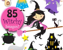 ULTIMATE WITCH & Wizard pack  - 85 piece digital clip art and digital papers value pack, in high resolution, Png digital art files.