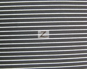 "Poly Cotton 1/8"" Small Stripe Fabric  - Black/White - 58""/59"" Width Sold By The Yard P262"