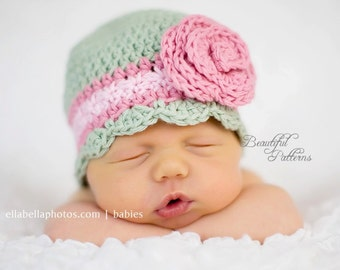 Crochet Hat Pattern Newborn Crochet Hat Flower Flapper Beanie Hat with Rose PDF 100 Newborn Baby to Adult  Photo Prop Instant Download