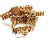 Vintage Sweetheart Expansion Bracelets, Heart Bracelets, Destash, Repair, Gold Fill