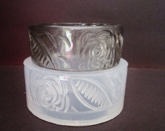 Bangle mold, Clear silicone rubber mold for stamping roses bangle bracelet (MB060)